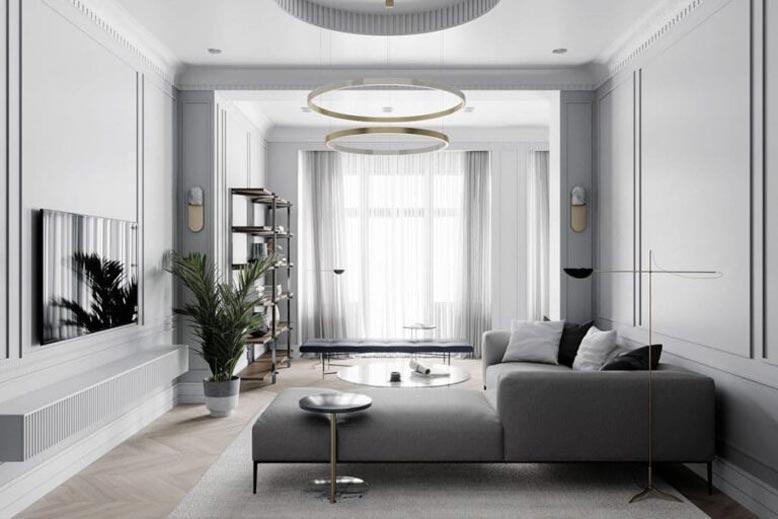 Thiết kế nội thất căn hộ chung cư phong cách tân cổ điển tông màu xám sang trọng