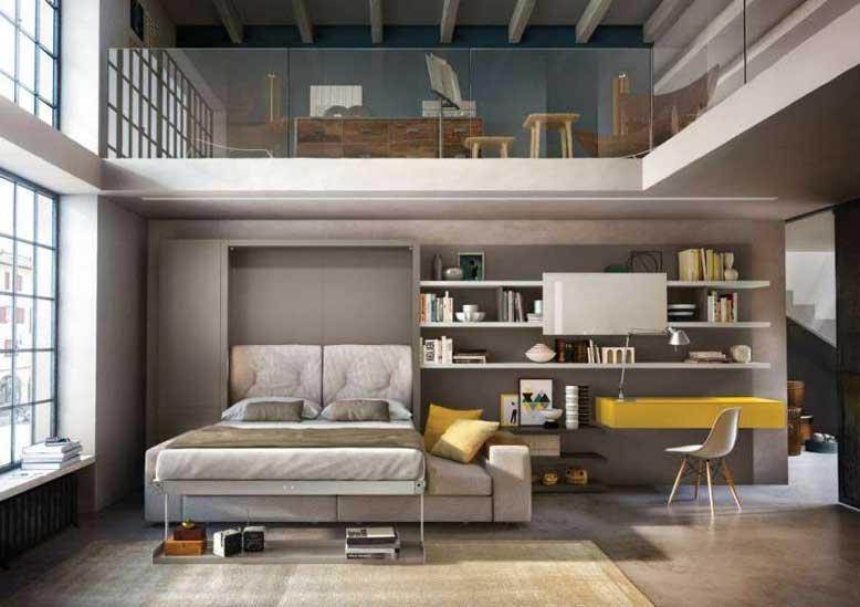 Giường ngủ kiêm tủ đồ và ghế sofa cho không gian thiết kế nội thất nhà nhỏ