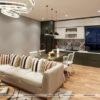 Không gian phòng khách được thiết kế theo phong cách hiện đại đơn giản
