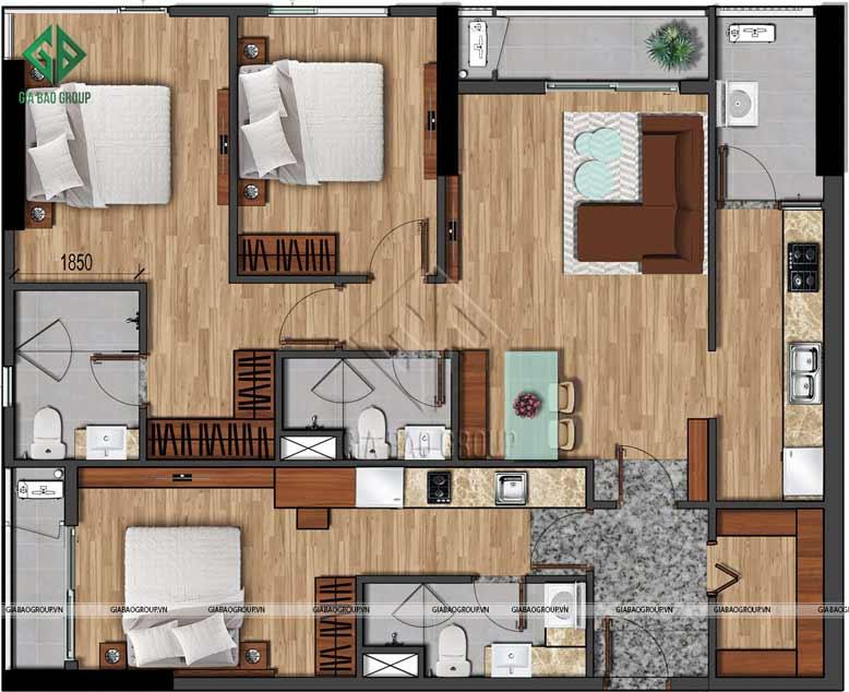 Mặt bằng mẫu nội thất chung cư phong cách hiện đại