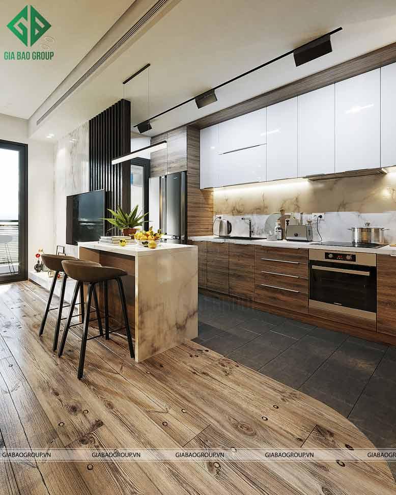 Bếp ăn chung cư hiện đại ấm áp và sạch sẽ