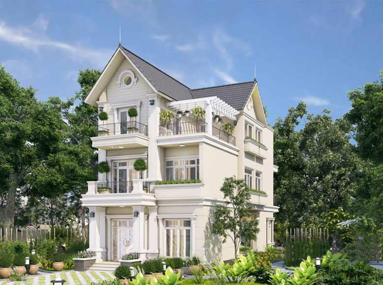 Thiết kế biệt thự mái thái 3 tầng kết hợp sân vườn