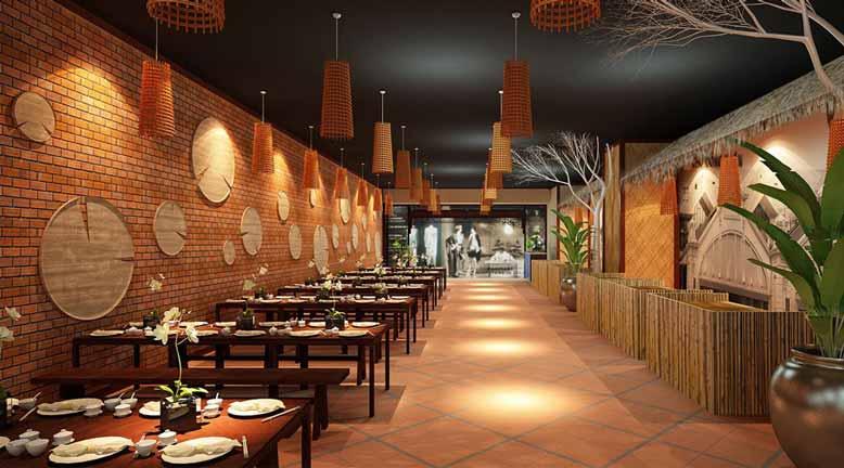Khu vực ăn uống trong thiết kế quán ăn cần đảm bảo sự thoải mái nhất cho khách hàng
