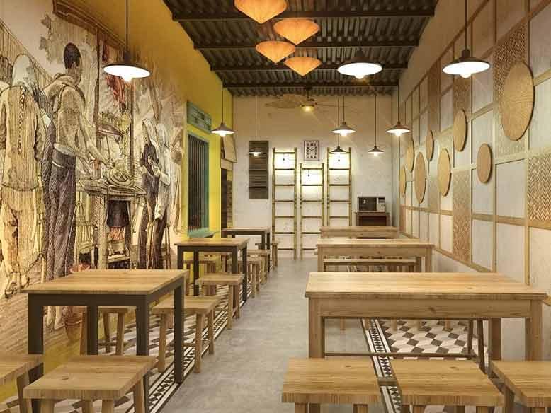 Lựa chọn vật liệu phù hợp và bài trí đồ đạc khoa học cho quán ăn
