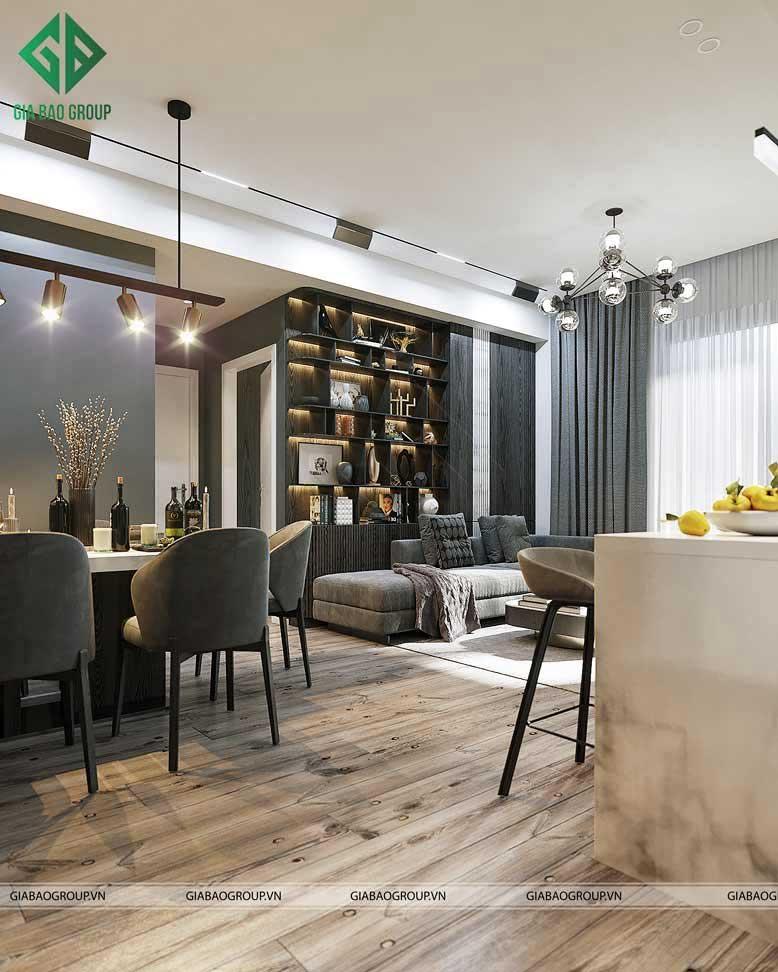 Phòng khách rộng rãi và sang trọng nhờ cách bố trí rộng rãi