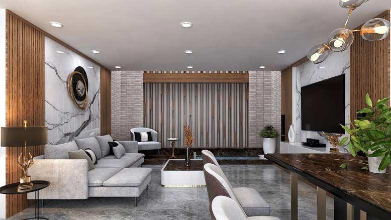 Thiết kế nội thất nhà phố với chất liệu mộc mạc