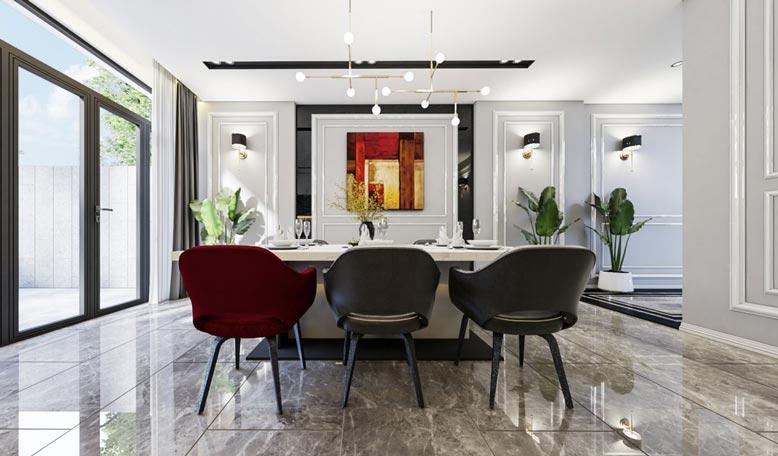 Thiết kế nội thất nhà phố theo phong cách sang trọng hiện đại