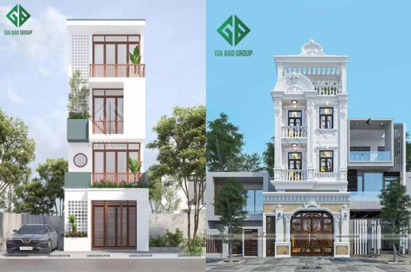 Thi công xây dựng nhà phố mặt tiền 5m
