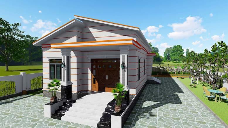 Kiến trúc nhà 1 tầng mái lệch không quá cầu kỳ phức tạp