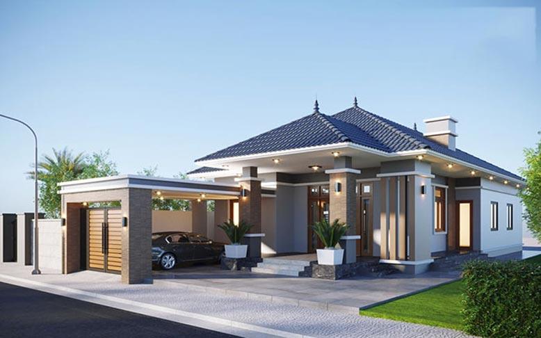 Mẫu nhà 1 tầng mái Nhật có kiến trúc đẹp nhất 2021