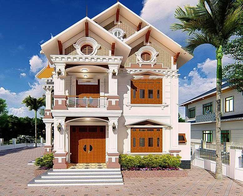 Thiết kế nhà 2 tầng có gác lửng