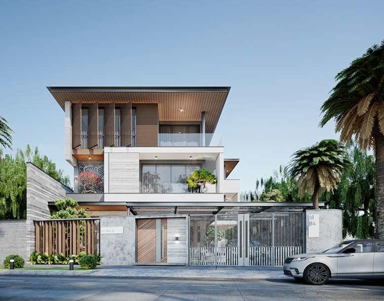 Thiết kế nhà 3 tầng hiện đại với kiểu dáng độc đáo