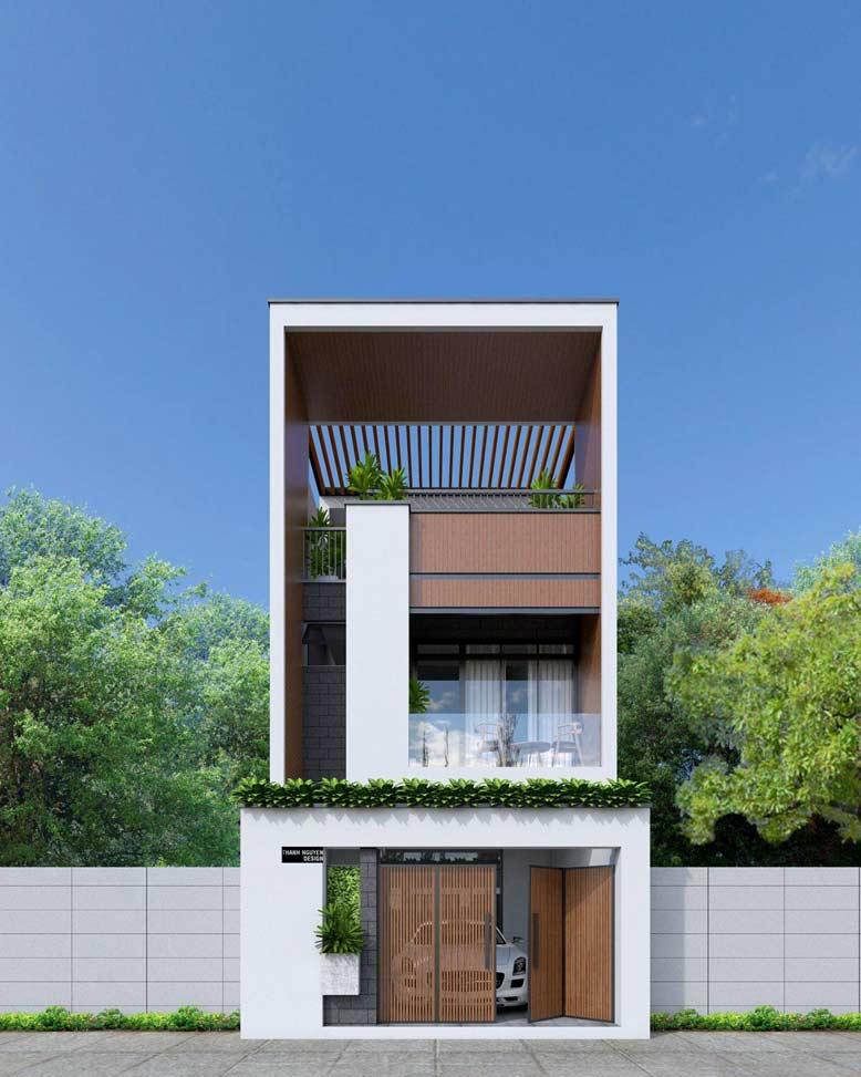 Nhà phố 2 tầng 1 tum với thiết kế đơn giản