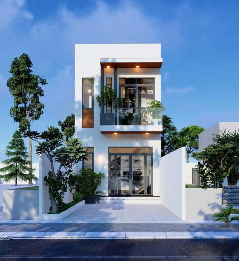 Thiết kế nhà phố 2 tầng mái bằng