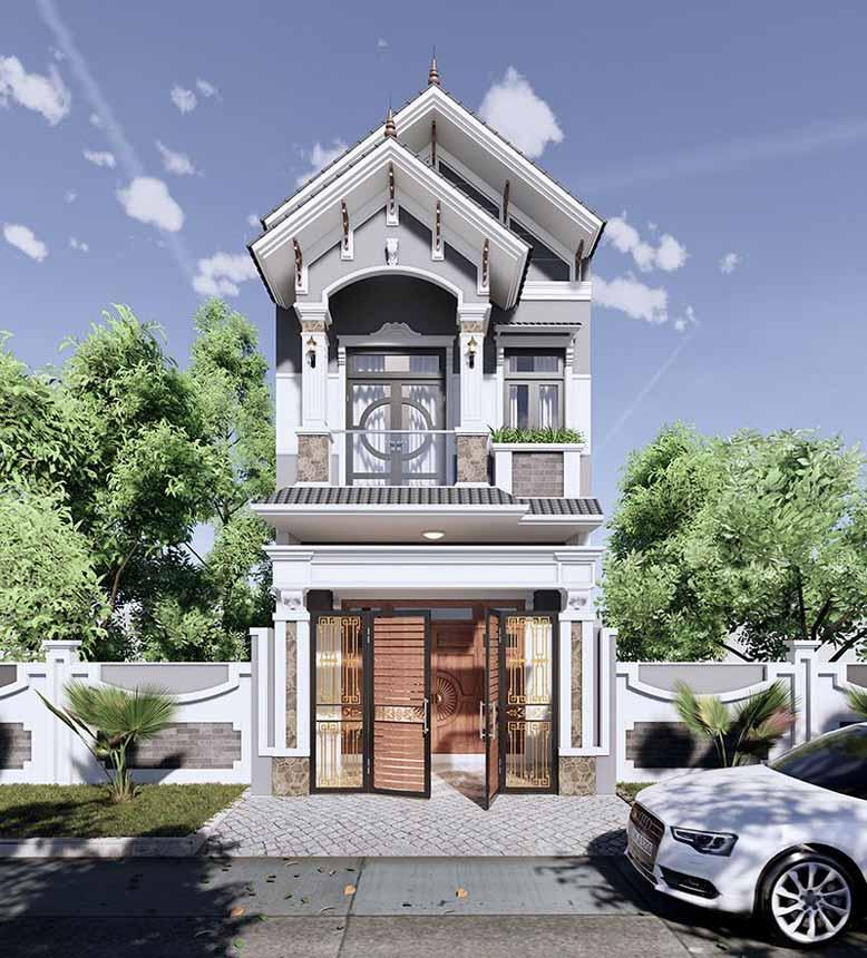 Thiết kế nhà phố 2 tầng mái thái đẹp