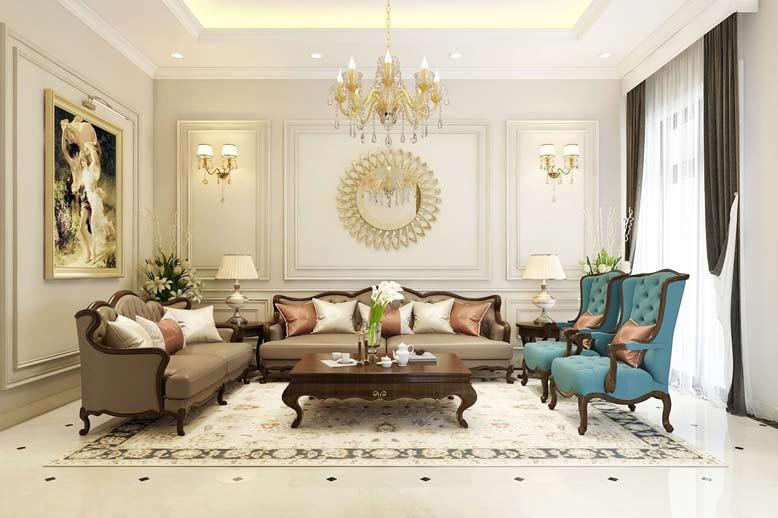Thi công nội thất trọn gói phòng khách theo phong cách tân cổ điển
