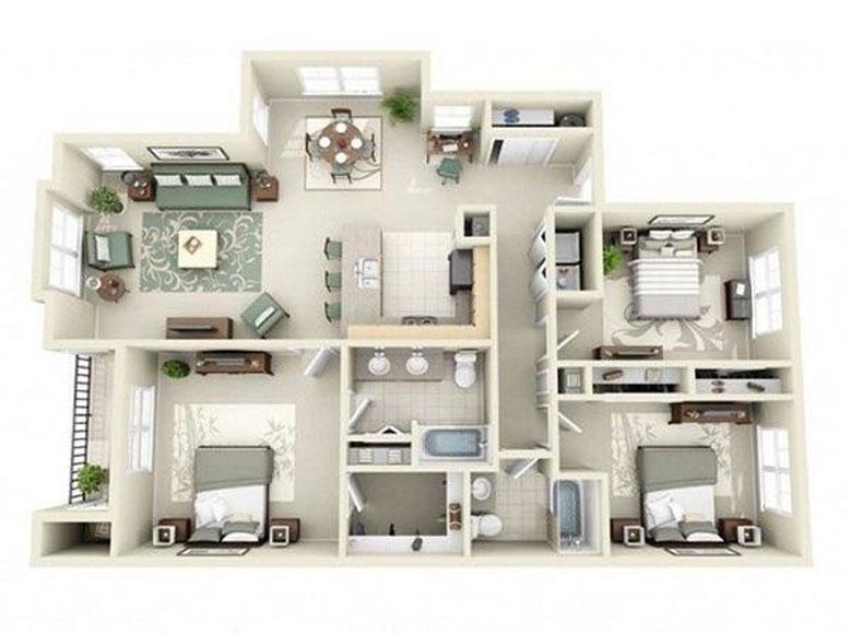Thiết kế nhà 1 tầng 3 phòng ngủ mang lại sự thoải mái