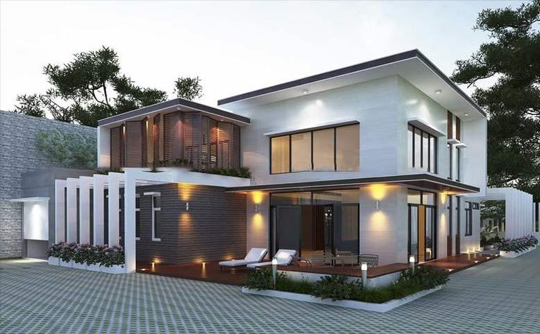 Thiết kế nhà 2 tầng mái bằng hiện đại