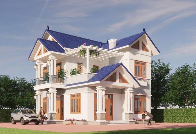 Thiết kế nhà 2 tầng theo phong cách hiện đại